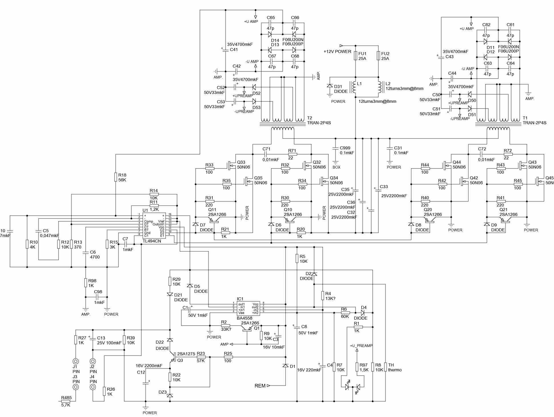 схема усилителя helix hxa 500 q mkii